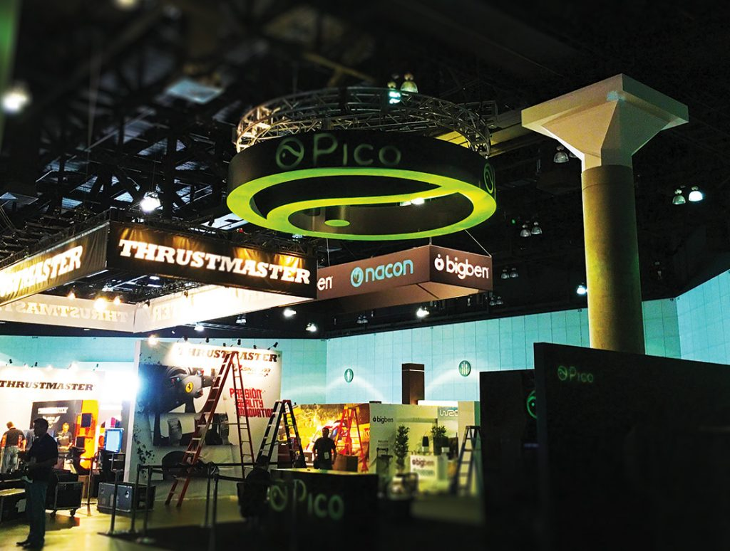 Custom overhead ceiling hanging sign created for E3